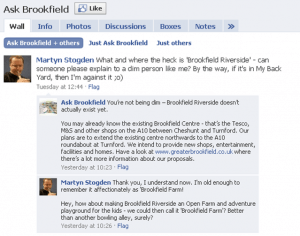 Bayfordbury Estates, Brookfield Riverside: using Facebook to engage and address misunderstandings